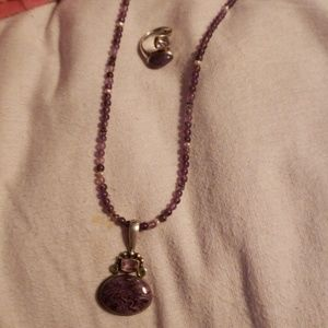 Purple Jade and amethyst necklace and ring